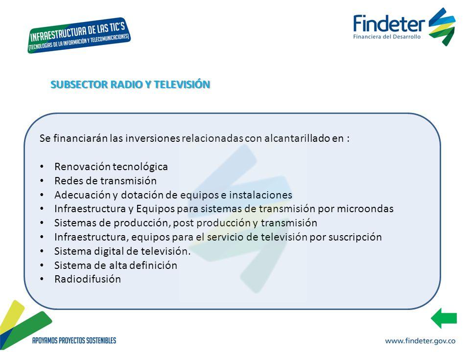 Se financiarán las inversiones relacionadas con alcantarillado en : Renovación tecnológica Redes de transmisión Adecuación y dotación de equipos e ins