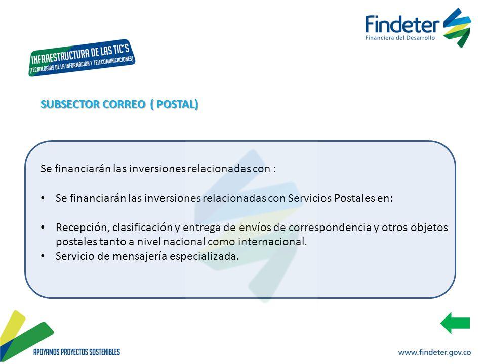 Se financiarán las inversiones relacionadas con : Se financiarán las inversiones relacionadas con Servicios Postales en: Recepción, clasificación y en