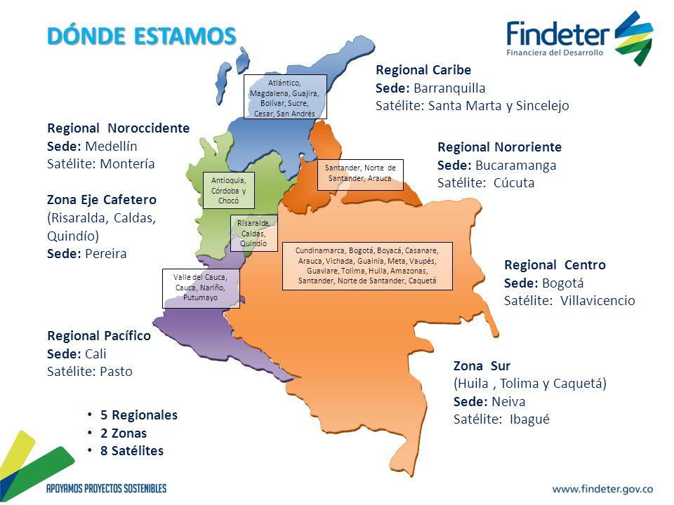 Regional Caribe Sede: Barranquilla Satélite: Santa Marta y Sincelejo Zona Sur (Huila, Tolima y Caquetá) Sede: Neiva Satélite: Ibagué Regional Noroccid