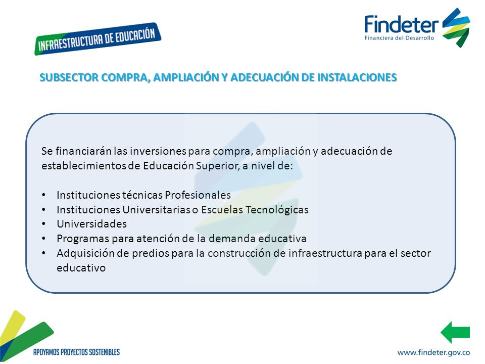 Se financiarán las inversiones para compra, ampliación y adecuación de establecimientos de Educación Superior, a nivel de: Instituciones técnicas Prof