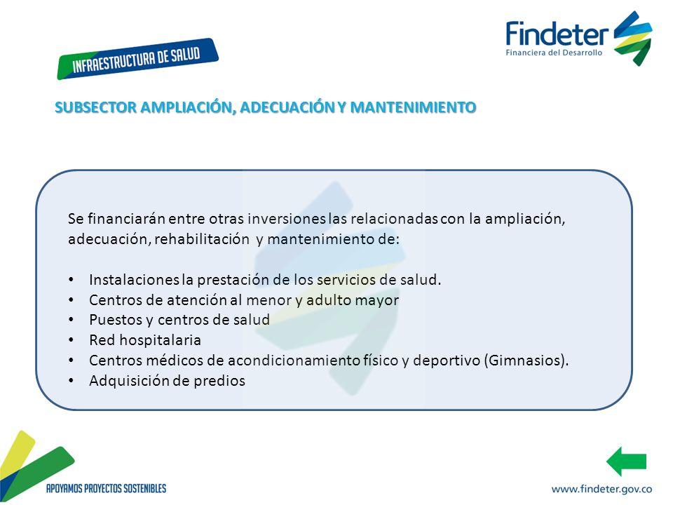 Se financiarán entre otras inversiones las relacionadas con la ampliación, adecuación, rehabilitación y mantenimiento de: Instalaciones la prestación