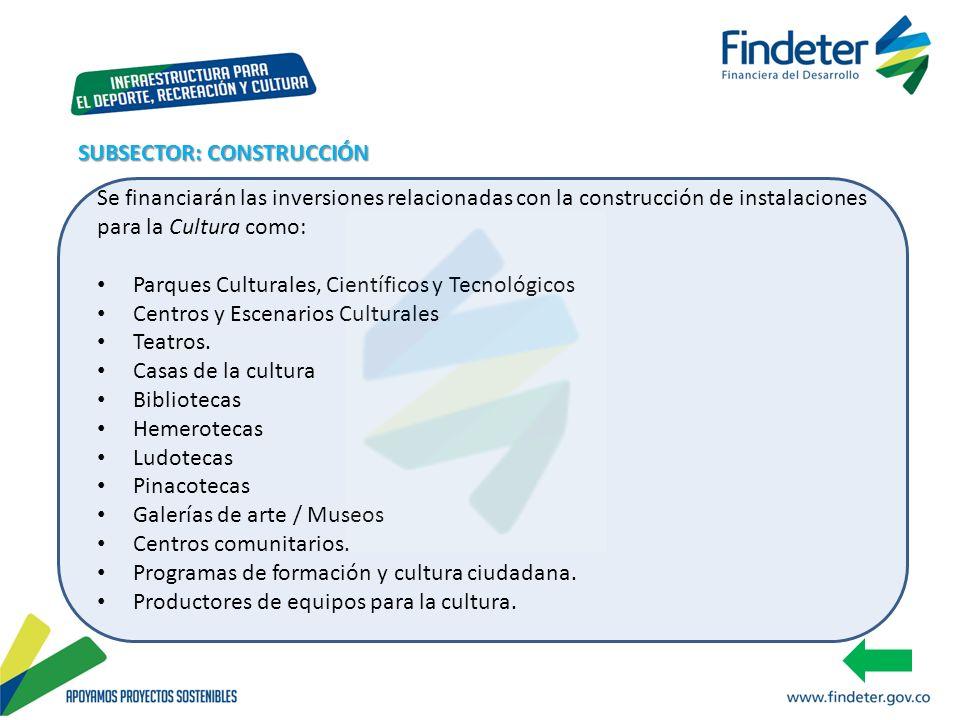 Se financiarán las inversiones relacionadas con la construcción de instalaciones para la Cultura como: Parques Culturales, Científicos y Tecnológicos