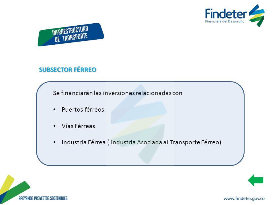 Se financiarán las inversiones relacionadas con Puertos férreos Vías Férreas Industria Férrea ( Industria Asociada al Transporte Férreo) SUBSECTOR FÉR
