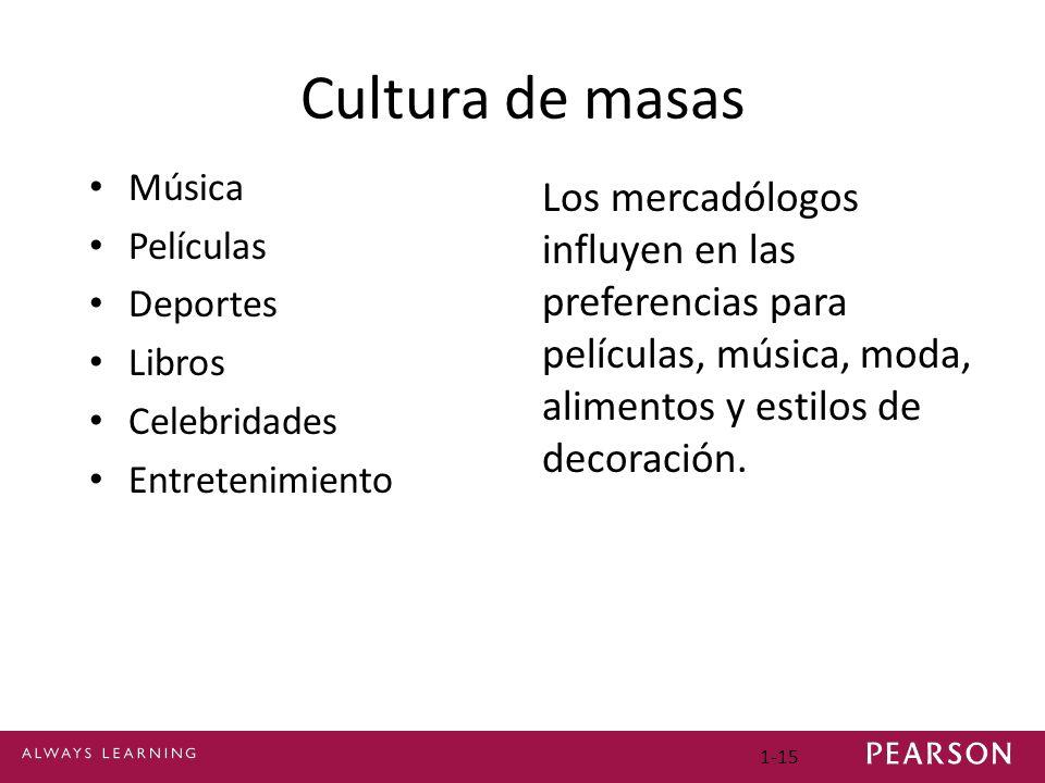 1-15 Cultura de masas Música Películas Deportes Libros Celebridades Entretenimiento Los mercadólogos influyen en las preferencias para películas, música, moda, alimentos y estilos de decoración.