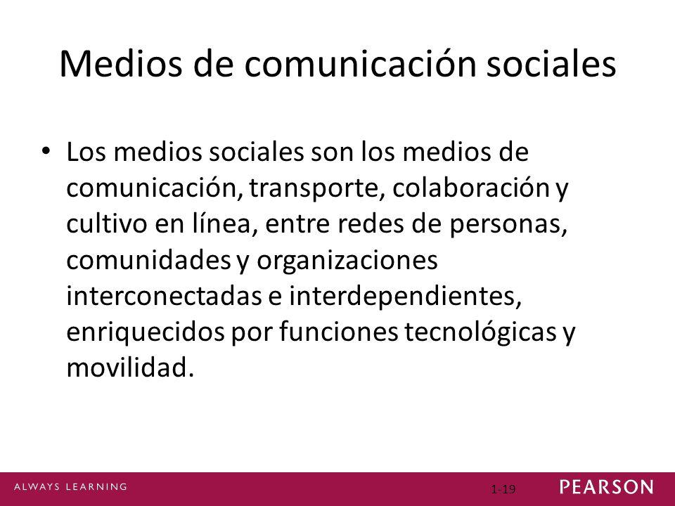 Medios de comunicación sociales Los medios sociales son los medios de comunicación, transporte, colaboración y cultivo en línea, entre redes de personas, comunidades y organizaciones interconectadas e interdependientes, enriquecidos por funciones tecnológicas y movilidad.