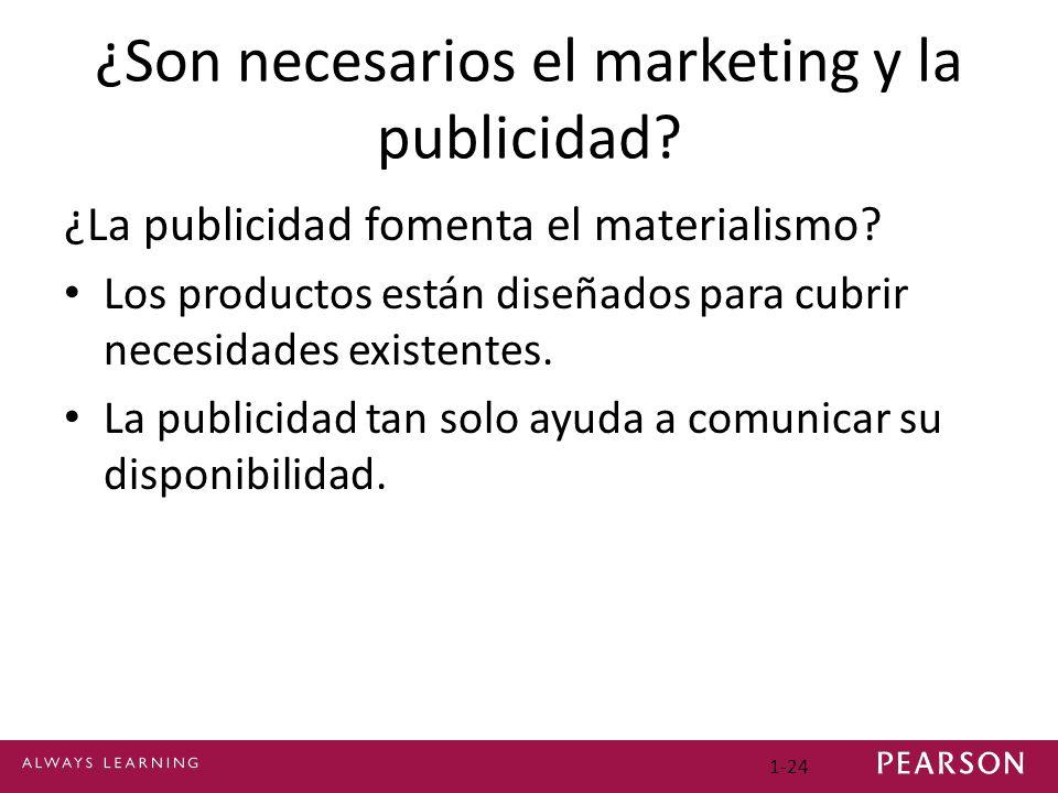 1-24 ¿Son necesarios el marketing y la publicidad? ¿La publicidad fomenta el materialismo? Los productos están diseñados para cubrir necesidades exist