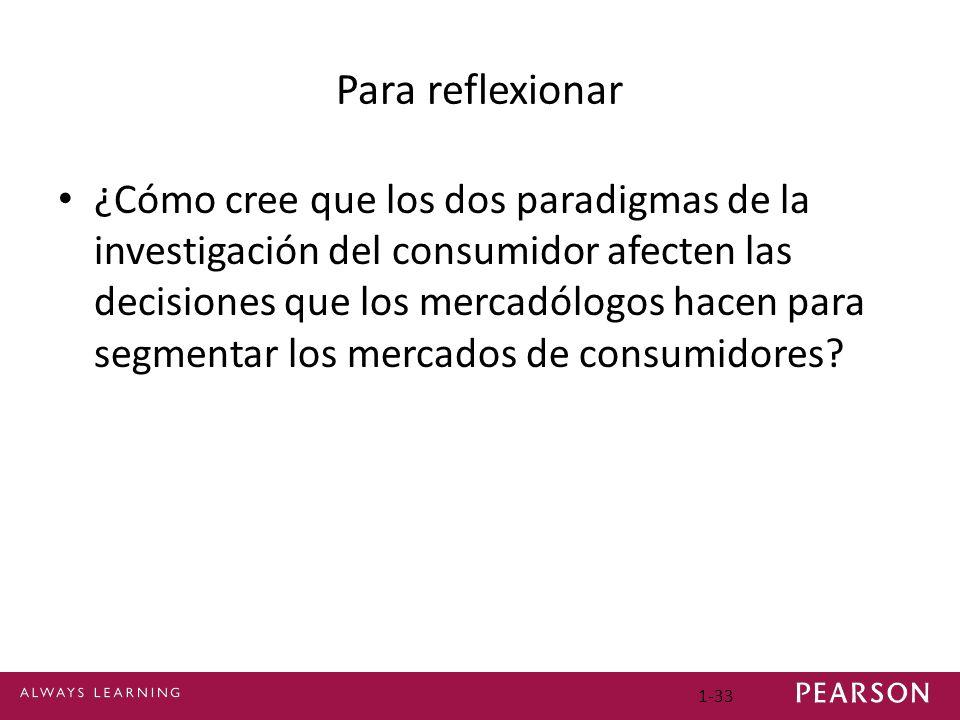 Para reflexionar ¿Cómo cree que los dos paradigmas de la investigación del consumidor afecten las decisiones que los mercadólogos hacen para segmentar los mercados de consumidores.