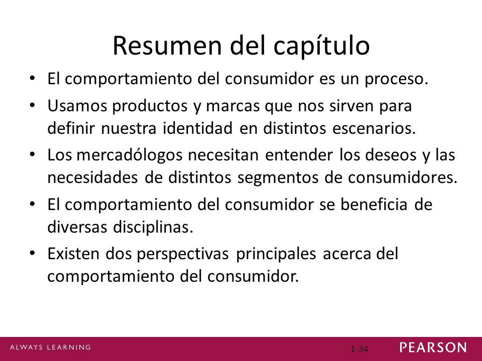 1-34 Resumen del capítulo El comportamiento del consumidor es un proceso. Usamos productos y marcas que nos sirven para definir nuestra identidad en d