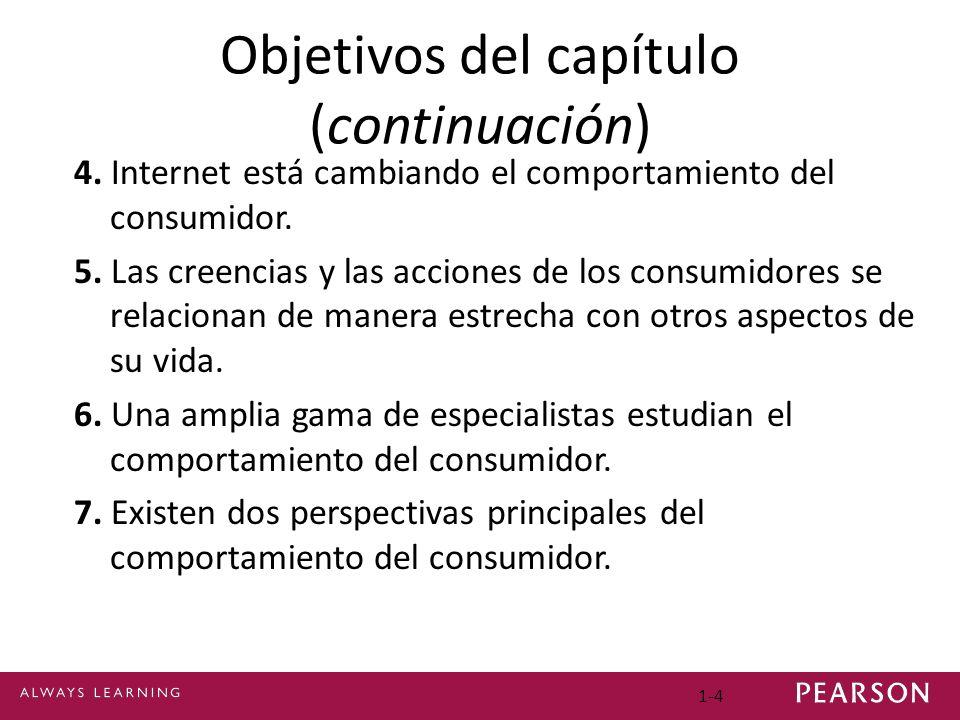 1-4 Objetivos del capítulo (continuación) 4. Internet está cambiando el comportamiento del consumidor. 5. Las creencias y las acciones de los consumid