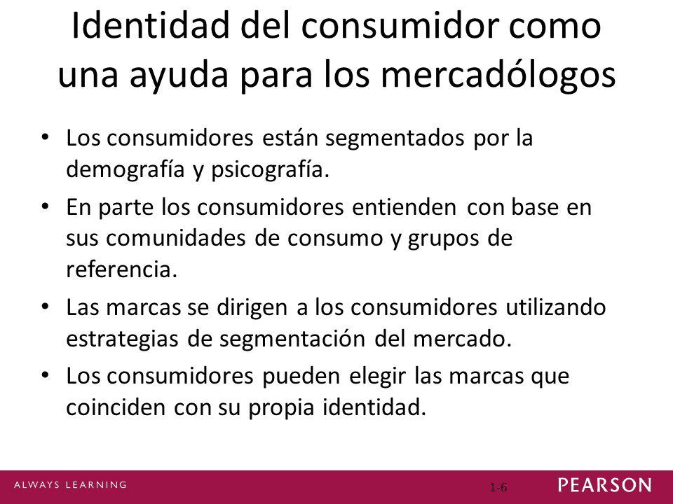 Identidad del consumidor como una ayuda para los mercadólogos Los consumidores están segmentados por la demografía y psicografía. En parte los consumi