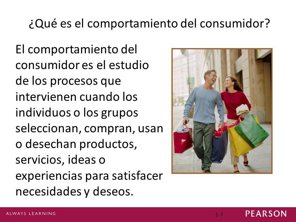 1-7 ¿Qué es el comportamiento del consumidor? El comportamiento del consumidor es el estudio de los procesos que intervienen cuando los individuos o l
