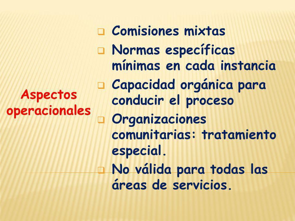 Aspectos operacionales Comisiones mixtas Normas específicas mínimas en cada instancia Capacidad orgánica para conducir el proceso Organizaciones comun