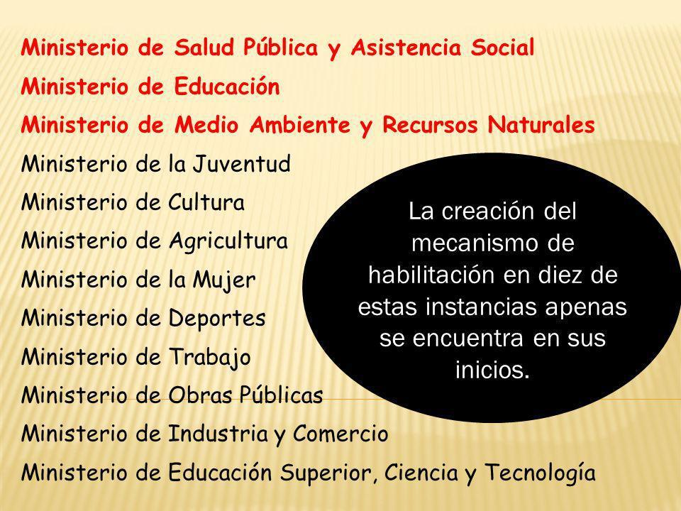 Ministerio de Salud Pública y Asistencia Social Ministerio de Educación Ministerio de Medio Ambiente y Recursos Naturales Ministerio de la Juventud Mi