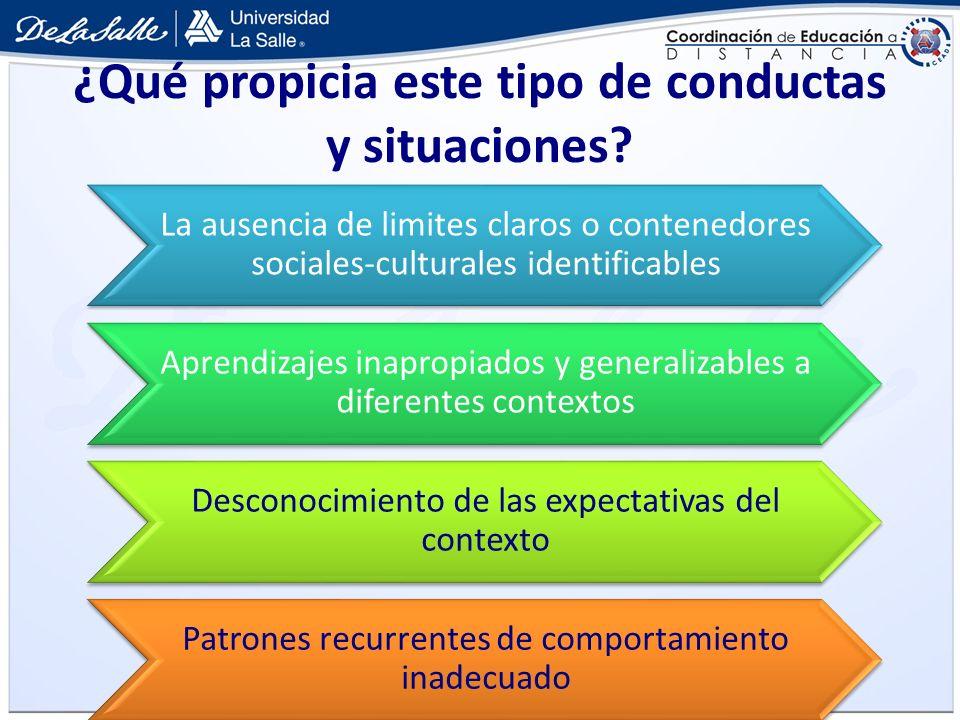 ¿Qué propicia este tipo de conductas y situaciones? La ausencia de limites claros o contenedores sociales-culturales identificables Aprendizajes inapr