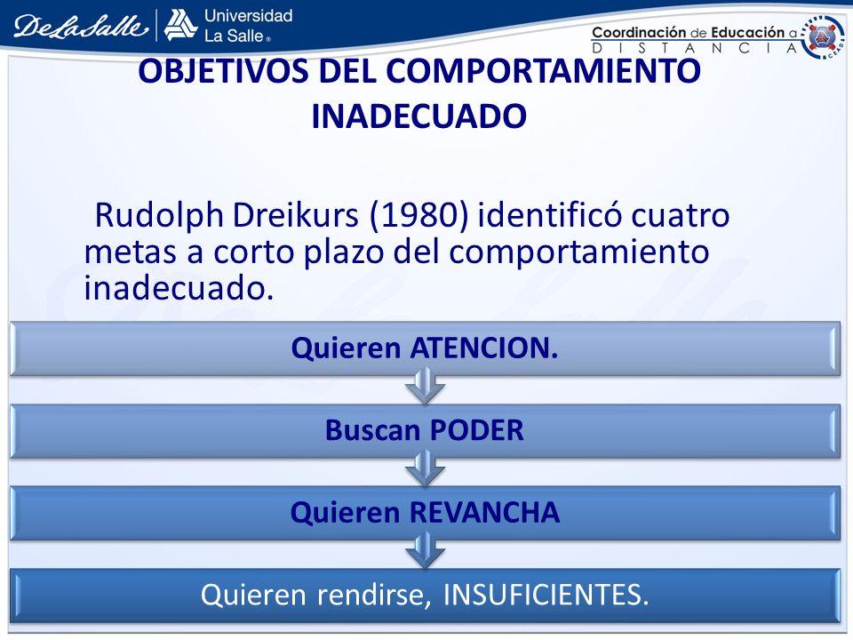 Rudolph Dreikurs (1980) identificó cuatro metas a corto plazo del comportamiento inadecuado. OBJETIVOS DEL COMPORTAMIENTO INADECUADO Quieren rendirse,
