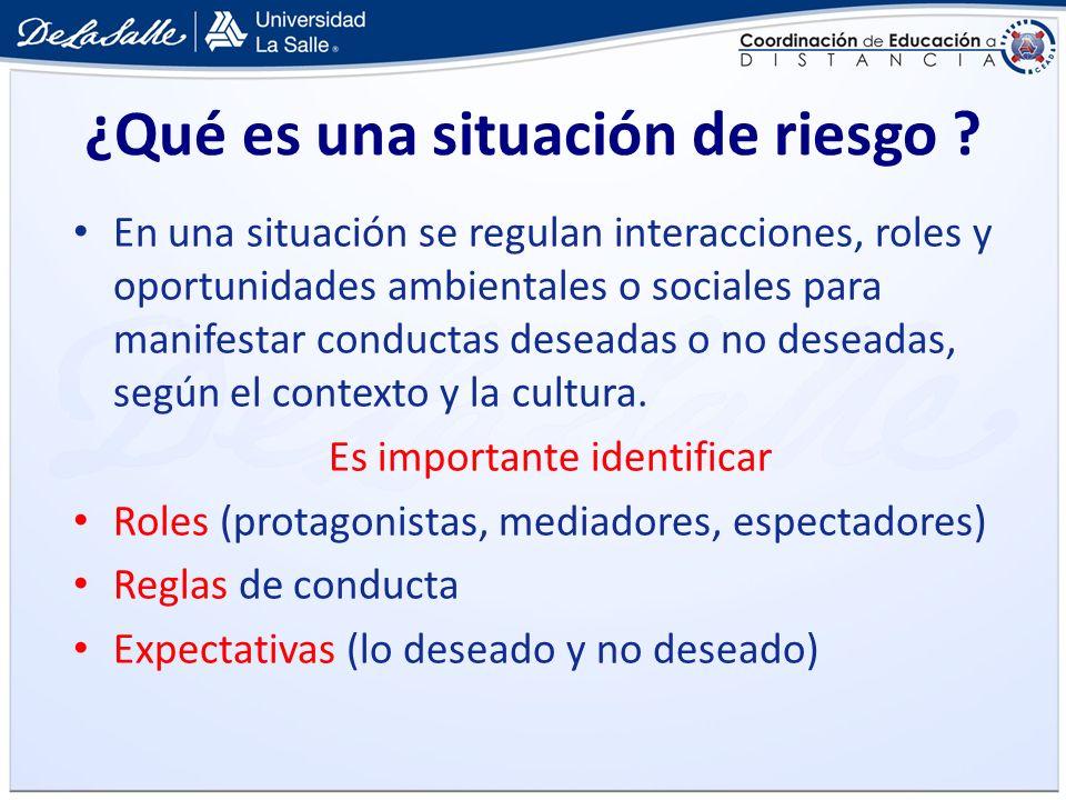 ¿Qué es una situación de riesgo ? En una situación se regulan interacciones, roles y oportunidades ambientales o sociales para manifestar conductas de