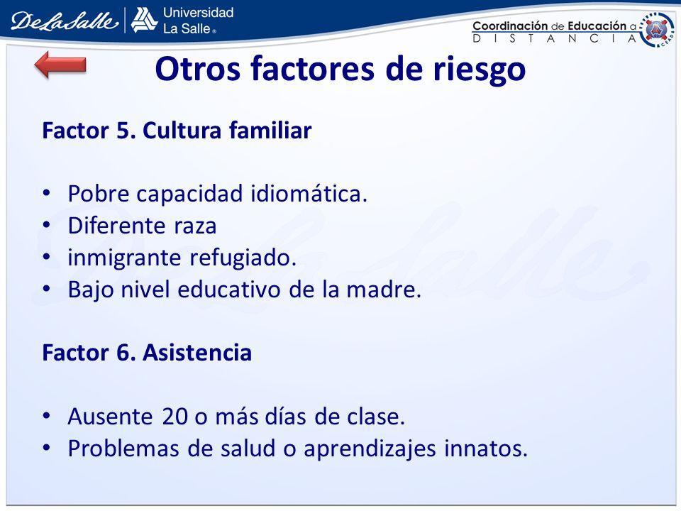 Otros factores de riesgo Factor 5. Cultura familiar Pobre capacidad idiomática. Diferente raza inmigrante refugiado. Bajo nivel educativo de la madre.