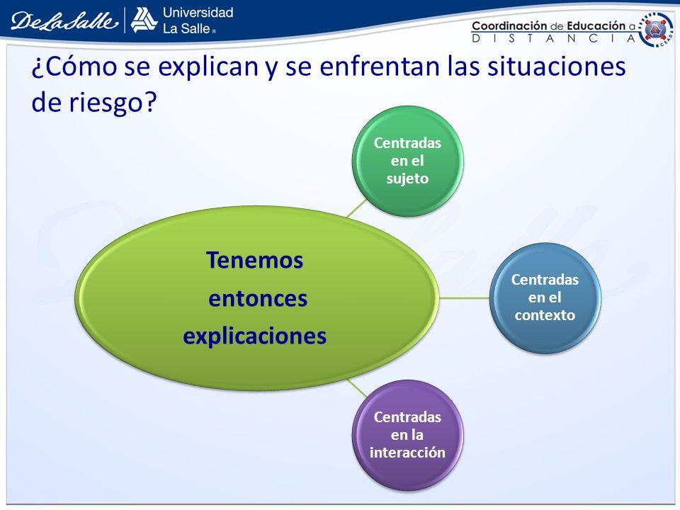 ¿Cómo se explican y se enfrentan las situaciones de riesgo? Centradas en el sujeto Centradas en el contexto Centradas en la interacción Tenemos entonc