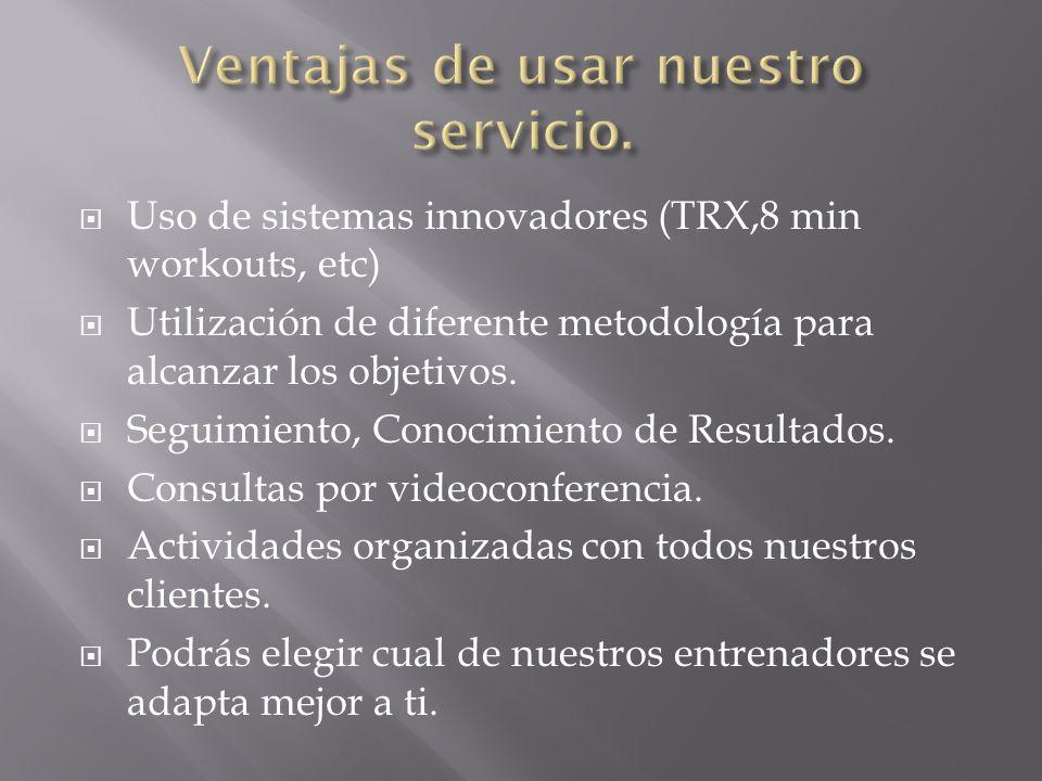 Uso de sistemas innovadores (TRX,8 min workouts, etc) Utilización de diferente metodología para alcanzar los objetivos. Seguimiento, Conocimiento de R