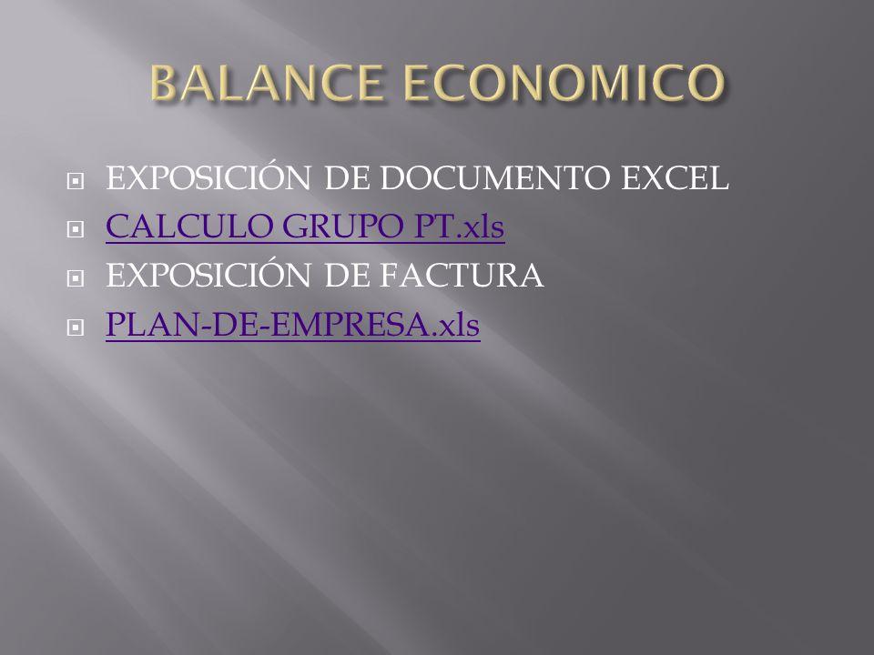 EXPOSICIÓN DE DOCUMENTO EXCEL CALCULO GRUPO PT.xls EXPOSICIÓN DE FACTURA PLAN-DE-EMPRESA.xls