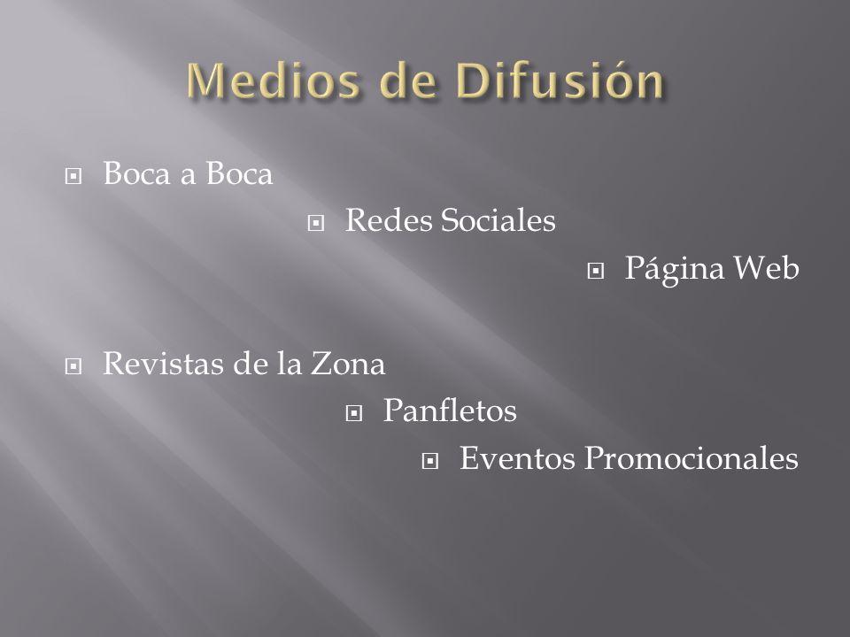 Boca a Boca Redes Sociales Página Web Revistas de la Zona Panfletos Eventos Promocionales