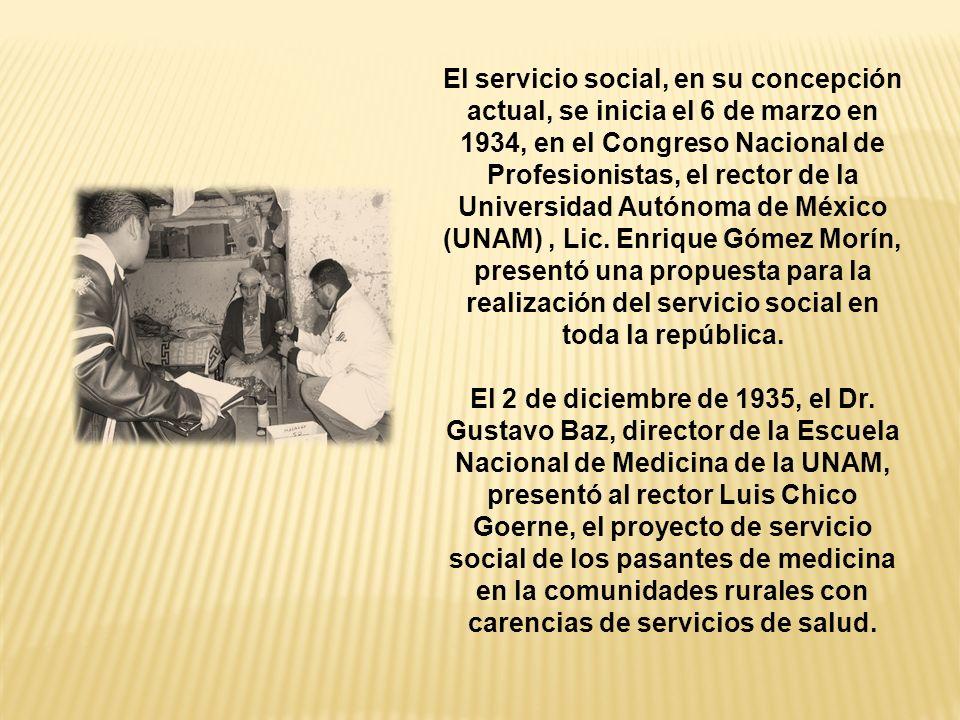 El servicio social, en su concepción actual, se inicia el 6 de marzo en 1934, en el Congreso Nacional de Profesionistas, el rector de la Universidad Autónoma de México (UNAM), Lic.