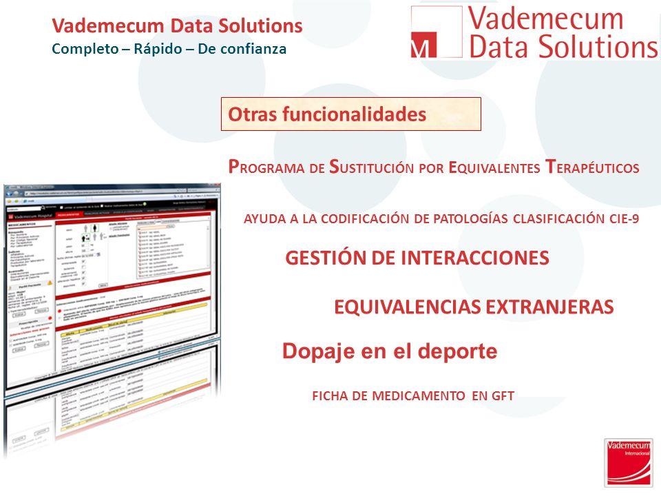 Otras funcionalidades Vademecum Data Solutions Completo – Rápido – De confianza FICHA DE MEDICAMENTO EN GFT GESTIÓN DE INTERACCIONES P ROGRAMA DE S USTITUCIÓN POR E QUIVALENTES T ERAPÉUTICOS EQUIVALENCIAS EXTRANJERAS Dopaje en el deporte AYUDA A LA CODIFICACIÓN DE PATOLOGÍAS CLASIFICACIÓN CIE-9
