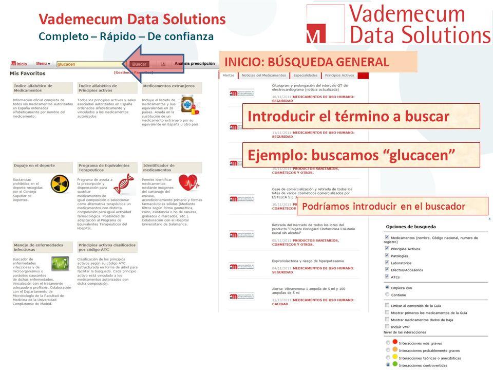 Vademecum Data Solutions Completo – Rápido – De confianza Introducir el término a buscar Ejemplo: buscamos glucacen INICIO: BÚSQUEDA GENERAL Podríamos introducir en el buscador