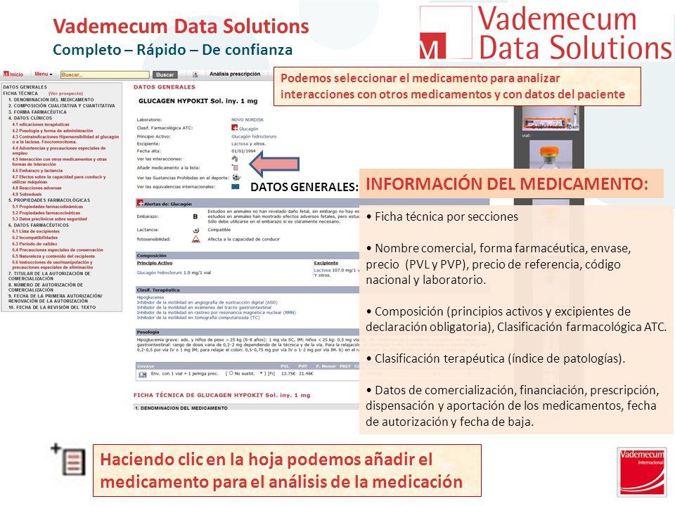 INFORMACIÓN DEL MEDICAMENTO: DATOS GENERALES: Ficha técnica por secciones Nombre comercial, forma farmacéutica, envase, precio (PVL y PVP), precio de referencia, código nacional y laboratorio.