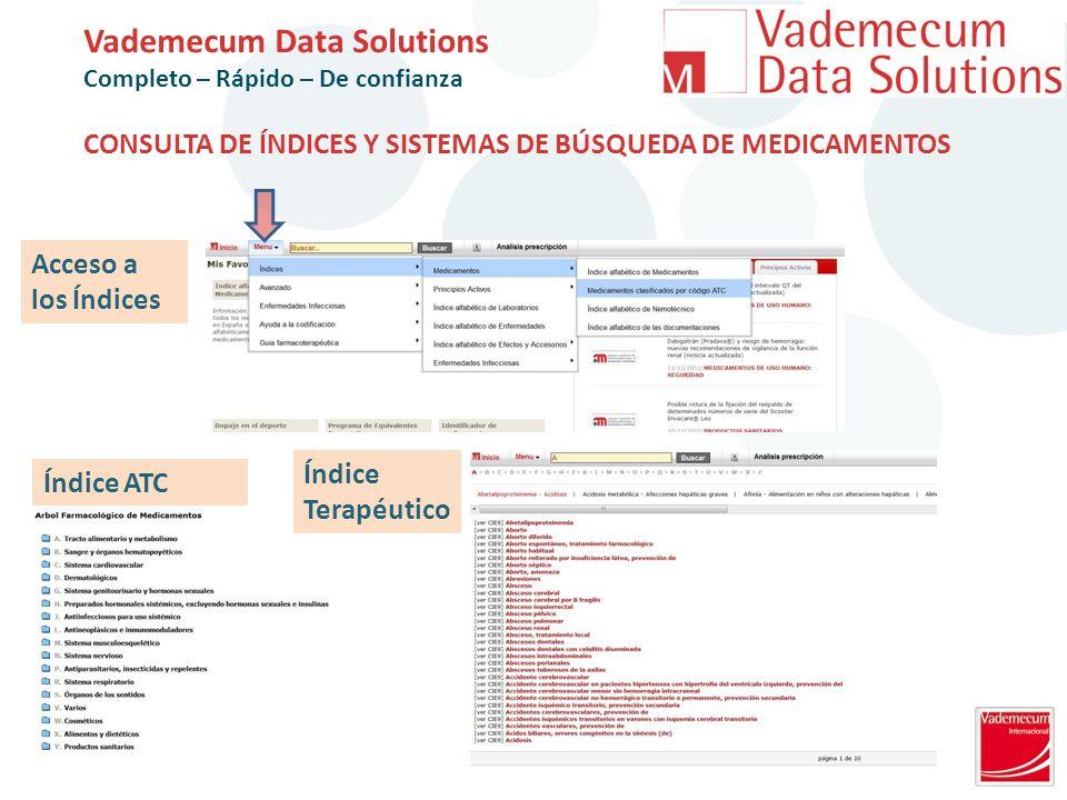 CONSULTA DE ÍNDICES Y SISTEMAS DE BÚSQUEDA DE MEDICAMENTOS Índice ATC Índice Terapéutico Acceso a los Índices Vademecum Data Solutions Completo – Rápido – De confianza