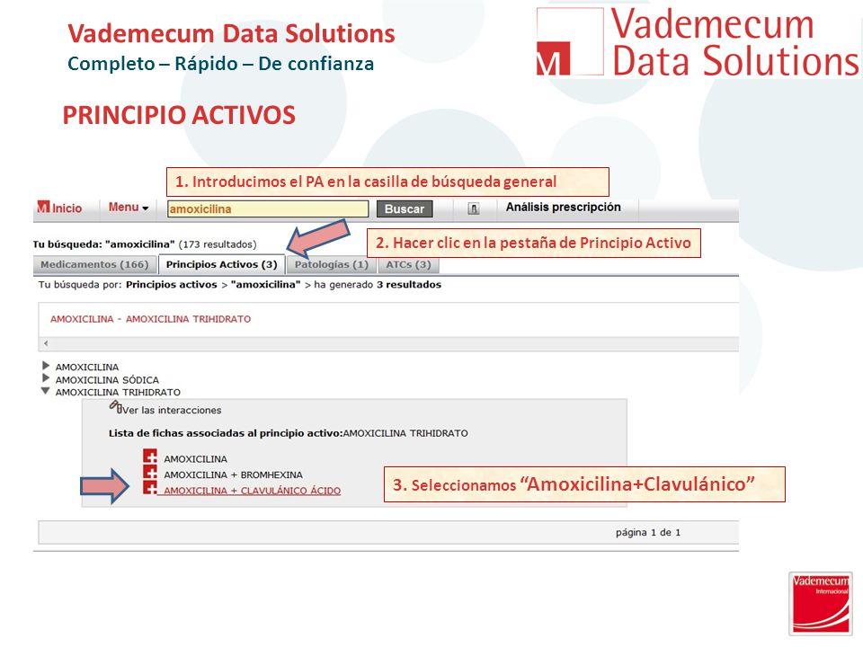 PRINCIPIO ACTIVOS Vademecum Data Solutions Completo – Rápido – De confianza 2.
