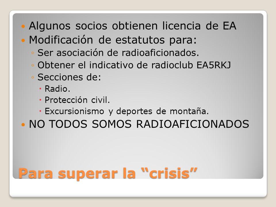 Para superar la crisis Algunos socios obtienen licencia de EA Modificación de estatutos para: Ser asociación de radioaficionados. Obtener el indicativ