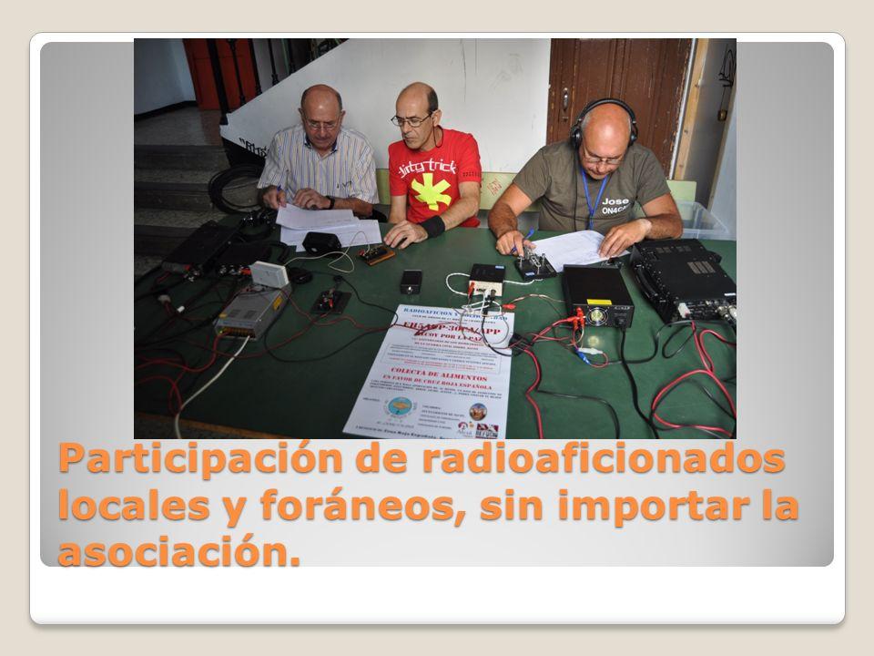 Participación de radioaficionados locales y foráneos, sin importar la asociación.