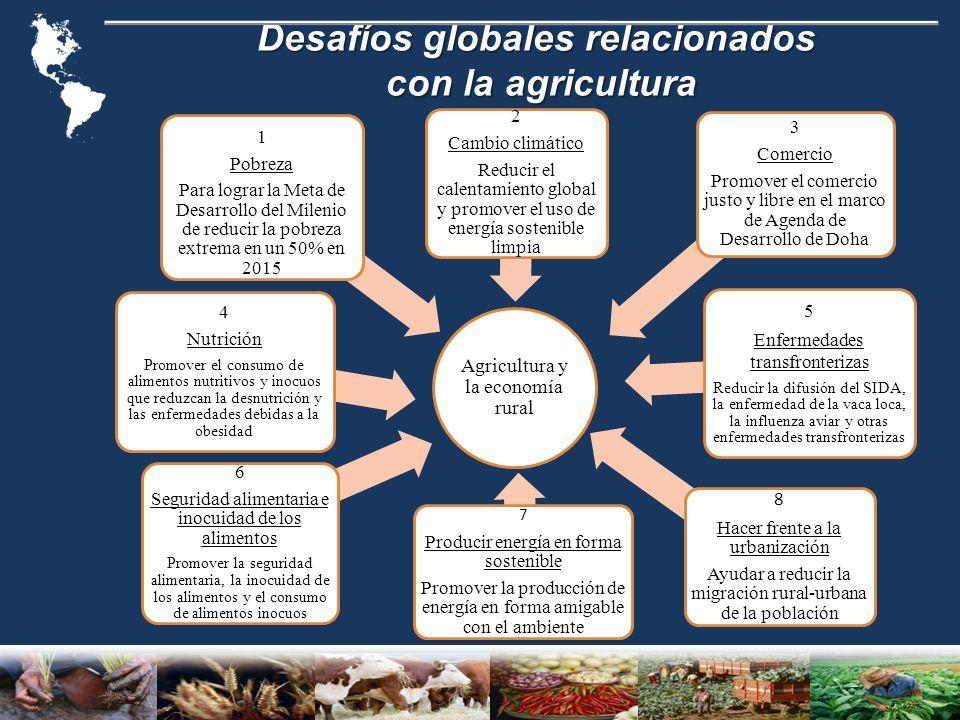 Desafíos globales relacionados con la agricultura con la agricultura Agricultura y la economía rural 5 Enfermedades transfronterizas Reducir la difusión del SIDA, la enfermedad de la vaca loca, la influenza aviar y otras enfermedades transfronterizas 3 Comercio Promover el comercio justo y libre en el marco de Agenda de Desarrollo de Doha 1 Pobreza Para lograr la Meta de Desarrollo del Milenio de reducir la pobreza extrema en un 50% en 2015 2 Cambio climático Reducir el calentamiento global y promover el uso de energía sostenible limpia 4 Nutrición Promover el consumo de alimentos nutritivos y inocuos que reduzcan la desnutrición y las enfermedades debidas a la obesidad 6 Seguridad alimentaria e inocuidad de los alimentos Promover la seguridad alimentaria, la inocuidad de los alimentos y el consumo de alimentos inocuos 7 Producir energía en forma sostenible Promover la producción de energía en forma amigable con el ambiente 8 Hacer frente a la urbanización Ayudar a reducir la migración rural-urbana de la población