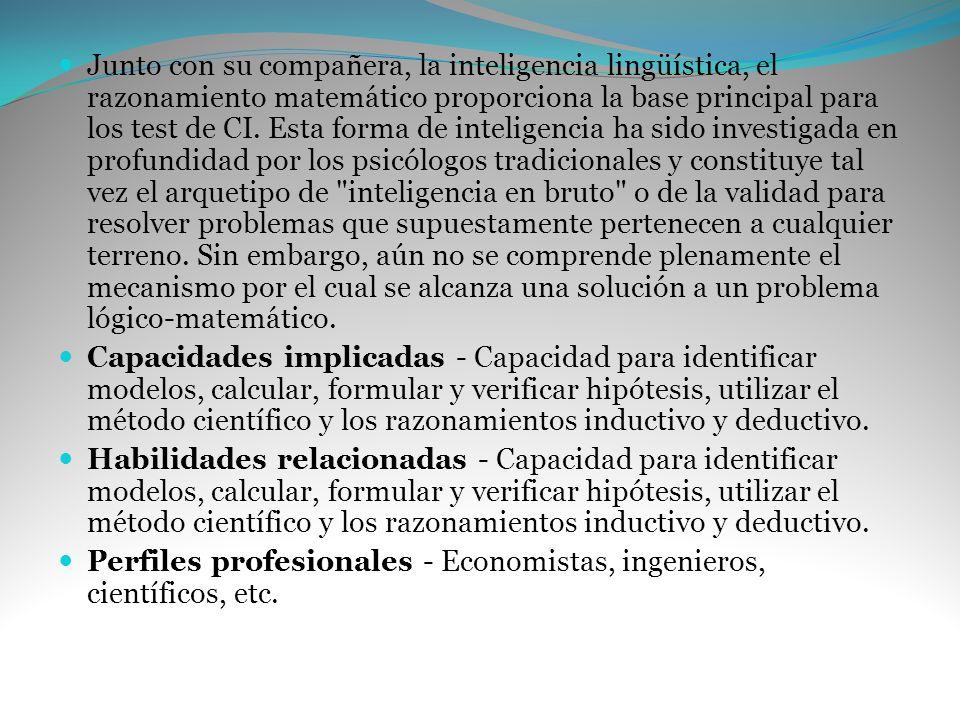 Junto con su compañera, la inteligencia lingüística, el razonamiento matemático proporciona la base principal para los test de CI. Esta forma de intel