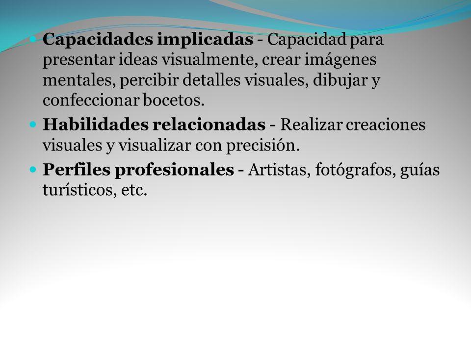 Capacidades implicadas - Capacidad para presentar ideas visualmente, crear imágenes mentales, percibir detalles visuales, dibujar y confeccionar bocet