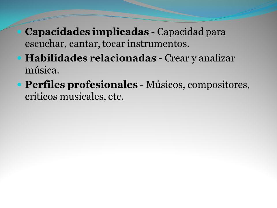 Capacidades implicadas - Capacidad para escuchar, cantar, tocar instrumentos. Habilidades relacionadas - Crear y analizar música. Perfiles profesional