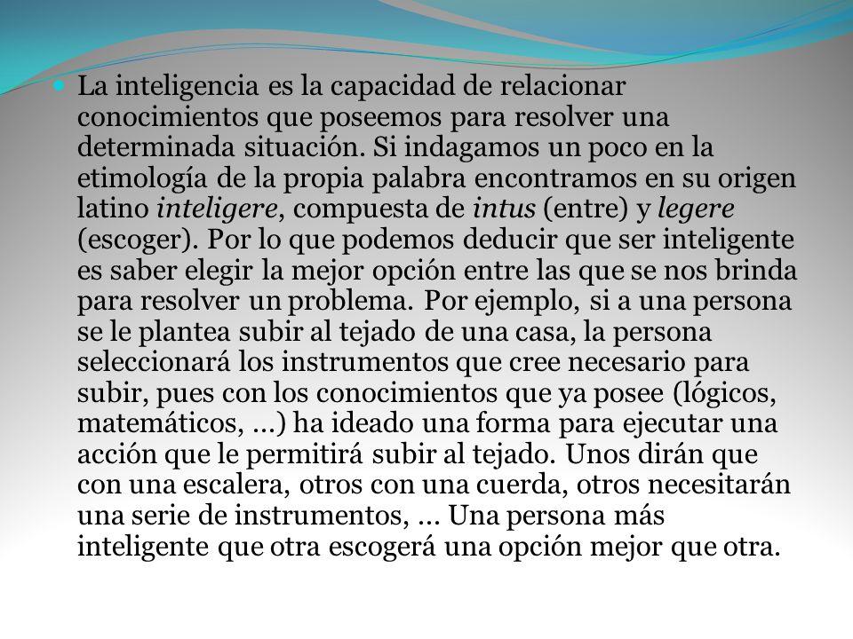 La inteligencia es la capacidad de relacionar conocimientos que poseemos para resolver una determinada situación. Si indagamos un poco en la etimologí