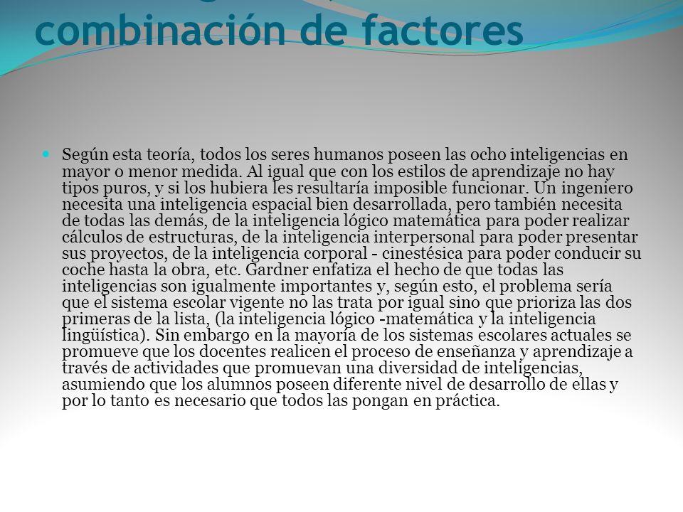 La inteligencia, una combinación de factores Según esta teoría, todos los seres humanos poseen las ocho inteligencias en mayor o menor medida. Al igua