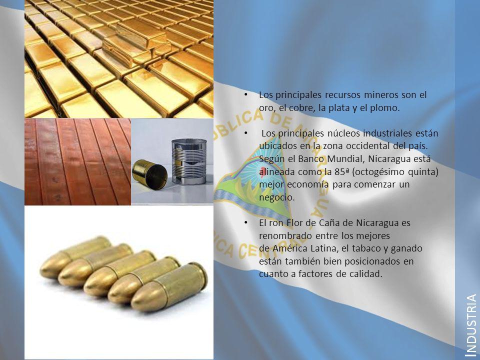 I NDUSTRIA Los principales recursos mineros son el oro, el cobre, la plata y el plomo. Los principales núcleos industriales están ubicados en la zona