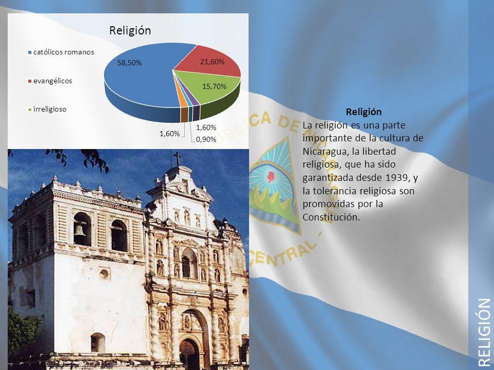 RELIGIÓN Religión La religión es una parte importante de la cultura de Nicaragua, la libertad religiosa, que ha sido garantizada desde 1939, y la tole
