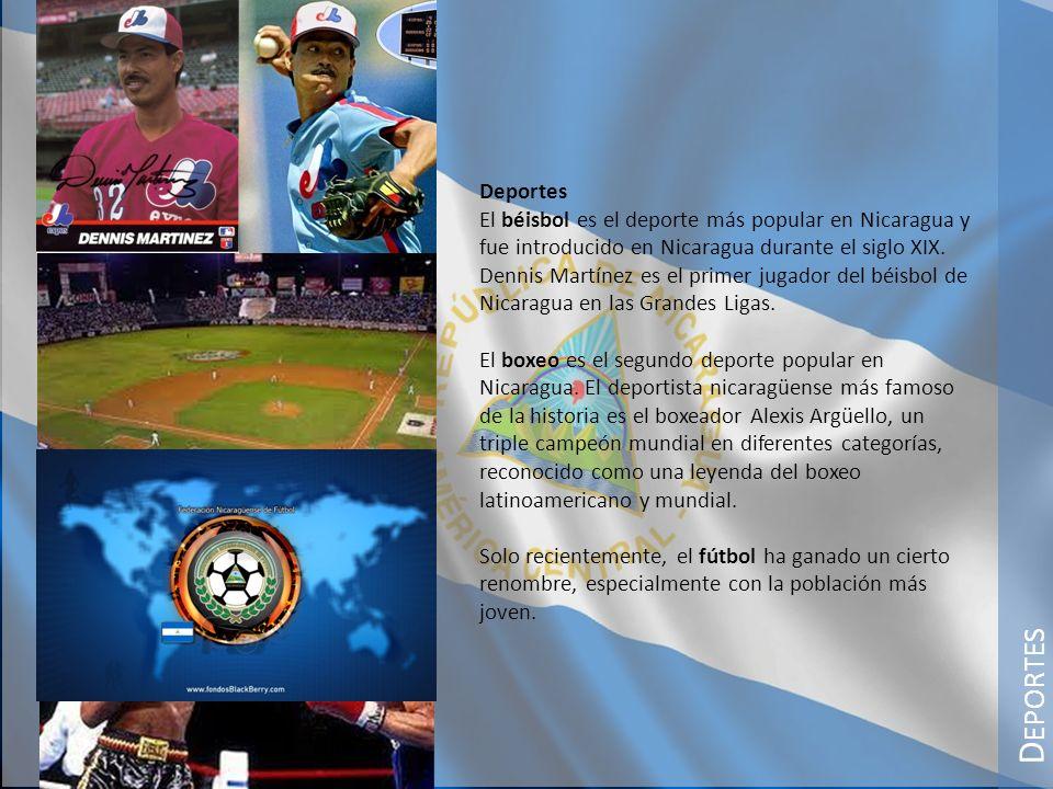 D EPORTES Deportes El béisbol es el deporte más popular en Nicaragua y fue introducido en Nicaragua durante el siglo XIX. Dennis Martínez es el primer