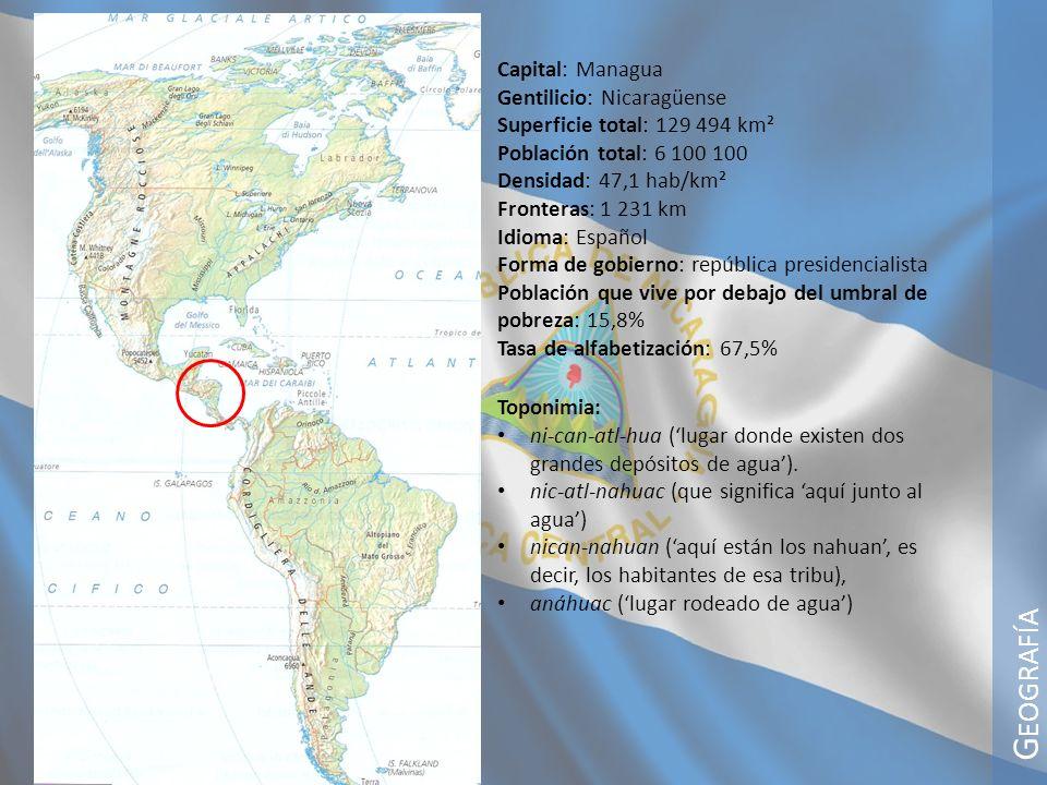G EOGRAFÍA Territorio y clima Nicaragua es un país volcánico y tropical, en su interior albergan también dos grandes lagos: el lago Managua y el lago Nicaragua y abundantes ríos.