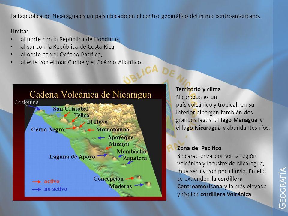 G EOGRAFÍA Territorio y clima Nicaragua es un país volcánico y tropical, en su interior albergan también dos grandes lagos: el lago Managua y el lago