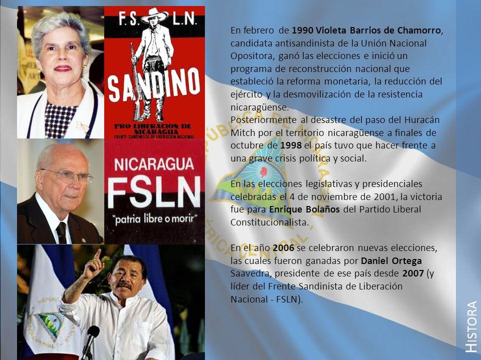 H ISTORA En febrero de 1990 Violeta Barrios de Chamorro, candidata antisandinista de la Unión Nacional Opositora, ganó las elecciones e inició un prog