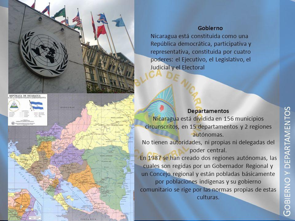 G OBIERNO Y DEPARTAMENTOS Departamentos Nicaragua está dividida en 156 municipios circunscritos, en 15 departamentos y 2 regiones autónomas. No tienen