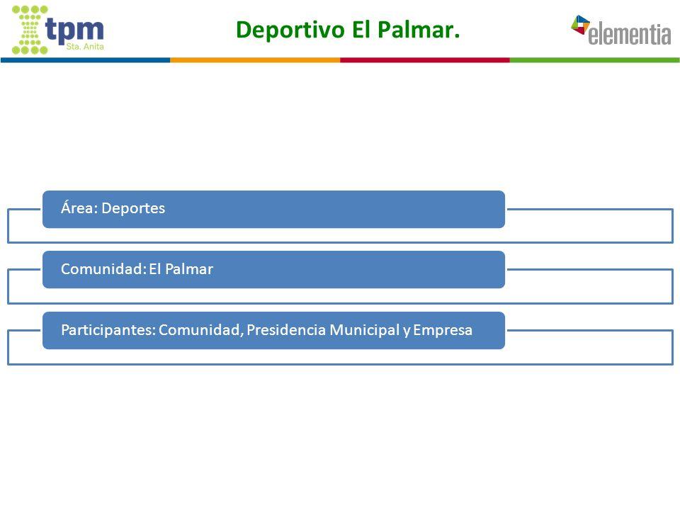 Deportivo El Palmar. Área: DeportesComunidad: El PalmarParticipantes: Comunidad, Presidencia Municipal y Empresa