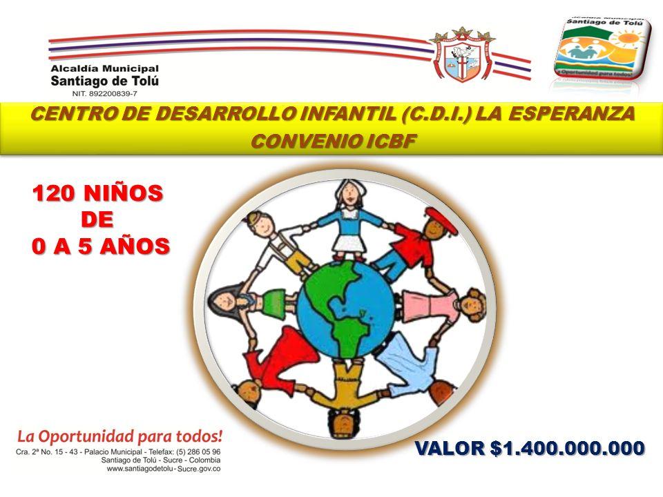 CENTRO DE DESARROLLO INFANTIL (C.D.I.) LA ESPERANZA CONVENIO ICBF CENTRO DE DESARROLLO INFANTIL (C.D.I.) LA ESPERANZA CONVENIO ICBF VALOR $1.400.000.0