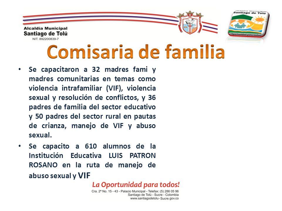 Se capacitaron a 32 madres fami y madres comunitarias en temas como violencia intrafamiliar (VIF), violencia sexual y resolución de conflictos, y 36 p