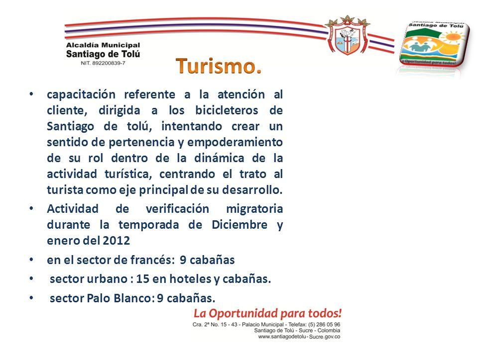capacitación referente a la atención al cliente, dirigida a los bicicleteros de Santiago de tolú, intentando crear un sentido de pertenencia y empoder